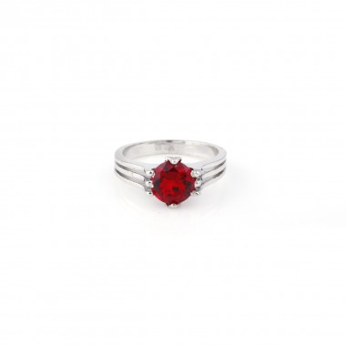 Silver Ring with Red Stone