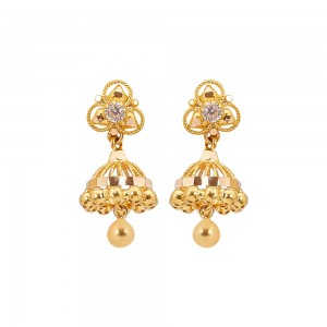 Sree Kumaran Thangamaligai 22k (916) Yellow Gold Stud Earrings for Kids