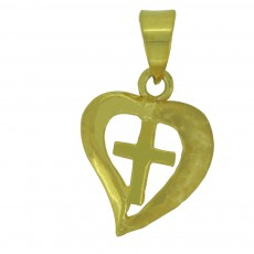 Heart in cross pendent