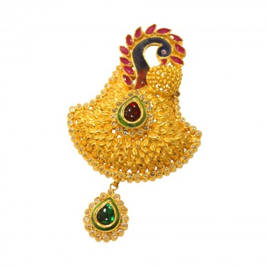 22Kt PAA.YC Peacock Design Gold Pendant with Stone