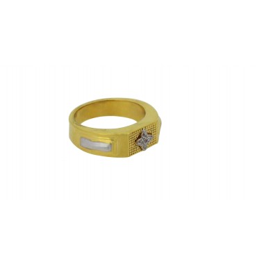 Gents bol zircon gold ring