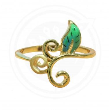 Fancy Enamel Leaf Ring
