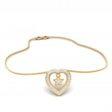 Heart in cross pendent with  chain