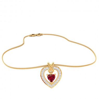 Heart-in cross pendent 22k gold