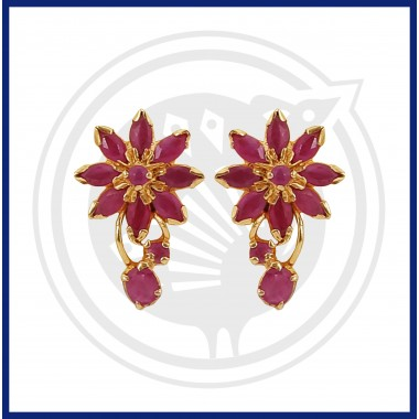 Ruby Real Stone Flower Design Stud