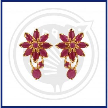 Ruby Real Stone Flower Design Stud