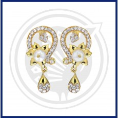 Fancy Pearl  Zircon Drops Stud
