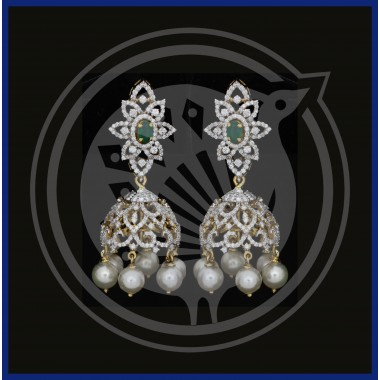 Fancy Diamond Stud & Pearl Drops 18K