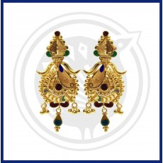 Ben Enamel Gold Stud Drop Earrings with Beads