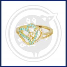 Fancy Double Heart-in Zircon Ring