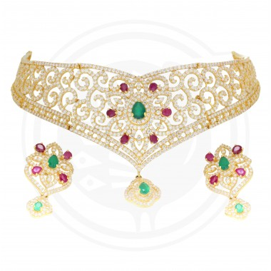 Tanujaa Fancy Choker Necklace Stud Set