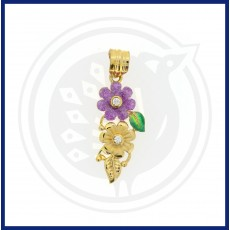 Casting Enamel Double Flower Pendant