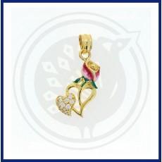 Casting Enamel Rose Heartin Pendant