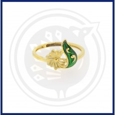Casting Green Enamel Flower Ring