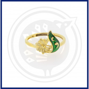 Casting Green Enamel Flower Ring