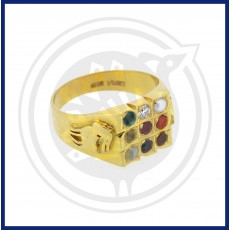 Aries Zodiac Gold Navaratna Ring