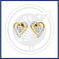 18K Gold Dhoolikas Earring Heart Shaped Fancy Diamond Stud