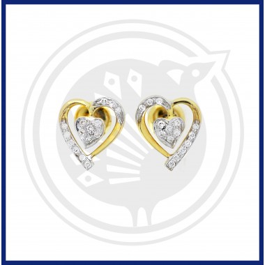 18K Gold Dhoolikas Earring Heart Shaped Fancy Diamond Stud