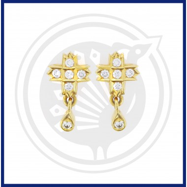 22K Fancy Diamond Stud With Hanging Bead Stone Earrings