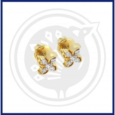 18K Fancy Dhoolikas Diamond Stud with White Stone Earrings