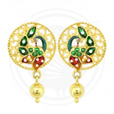 Fancy Enamel Peacock Drops Stud