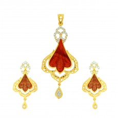 Tanujaa Special Red Stone Pendant Stud
