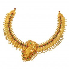 22Kt Antique H.ELG Nagas U Gold Necklace Peacock Design with Stones