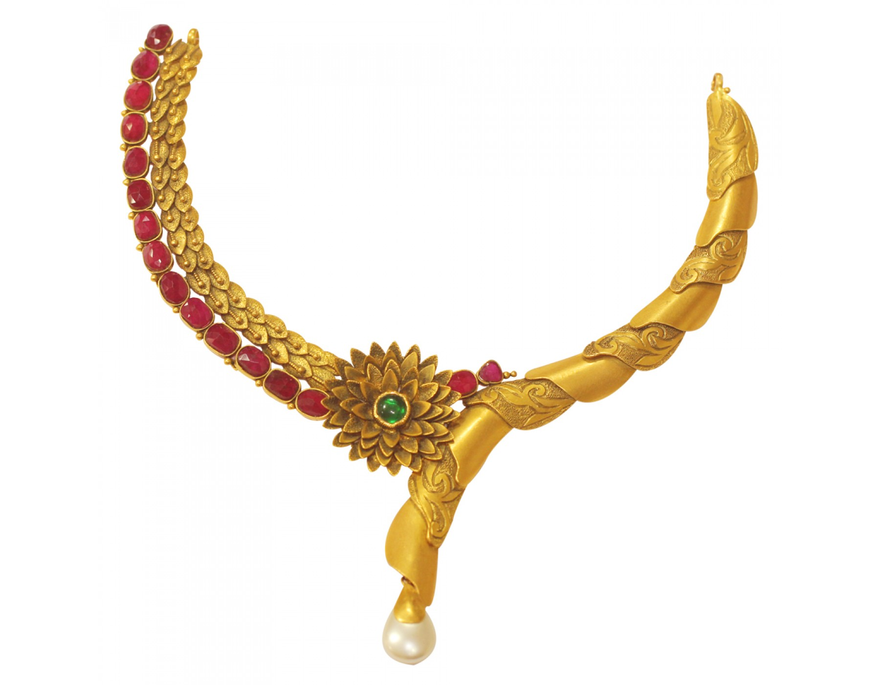 Sree Kumaran | 22Kt Antique Designer Flower Pattern Gold Necklace ...